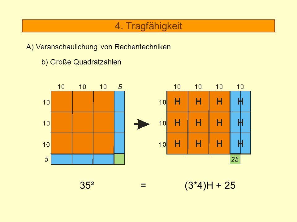 4. Tragfähigkeit A) Veranschaulichung von Rechentechniken b) Große Quadratzahlen 35² = (3*4)H + 25