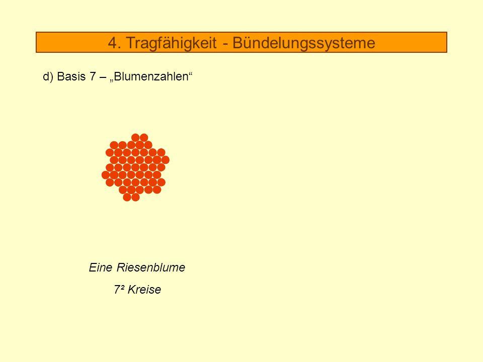 Eine Riesenblume 7² Kreise 4. Tragfähigkeit - Bündelungssysteme d) Basis 7 – Blumenzahlen
