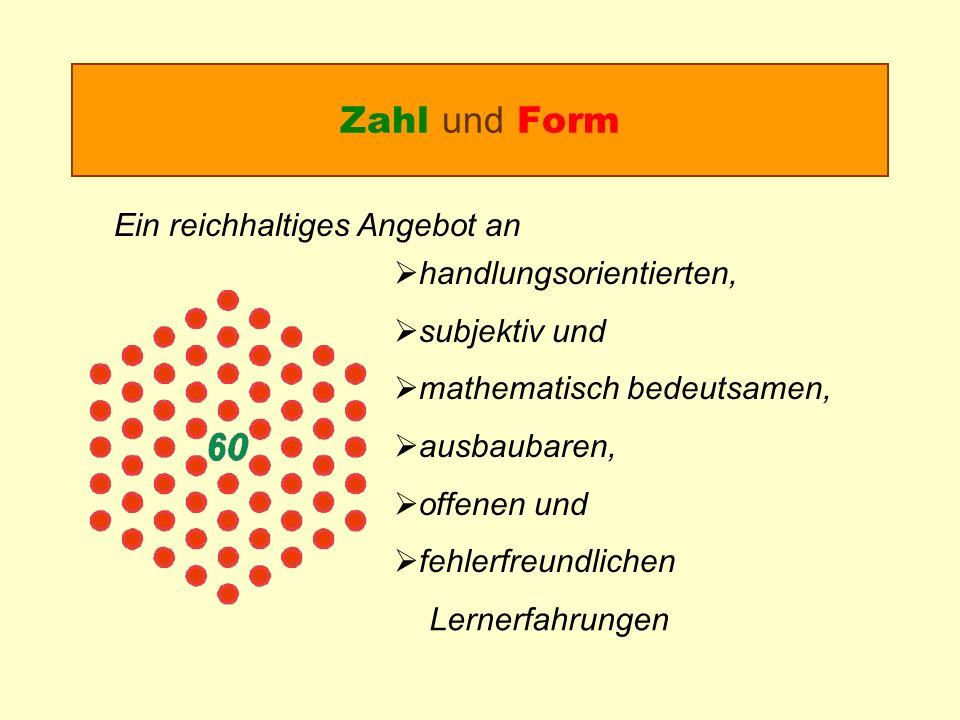 Zahl und Form Ein reichhaltiges Angebot an handlungsorientierten, subjektiv und mathematisch bedeutsamen, ausbaubaren, offenen und fehlerfreundlichen