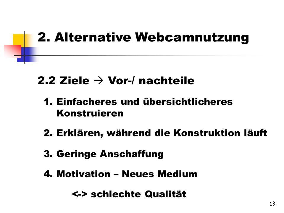 13 2.2 Ziele Vor-/ nachteile 1. Einfacheres und übersichtlicheres Konstruieren 2.