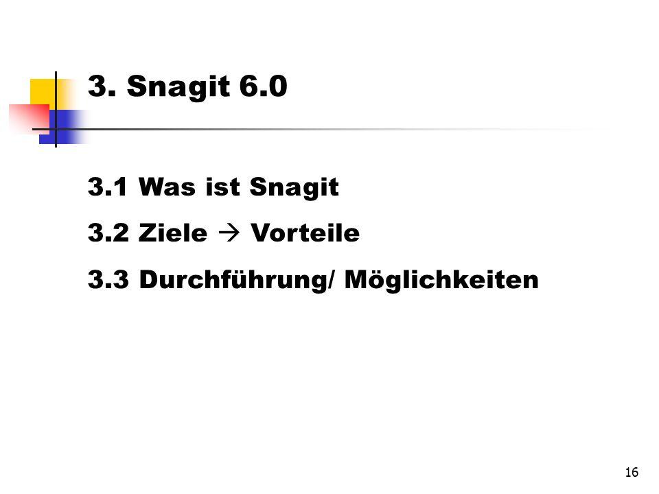 16 3. Snagit 6.0 3.1 Was ist Snagit 3.2 Ziele Vorteile 3.3 Durchführung/ Möglichkeiten
