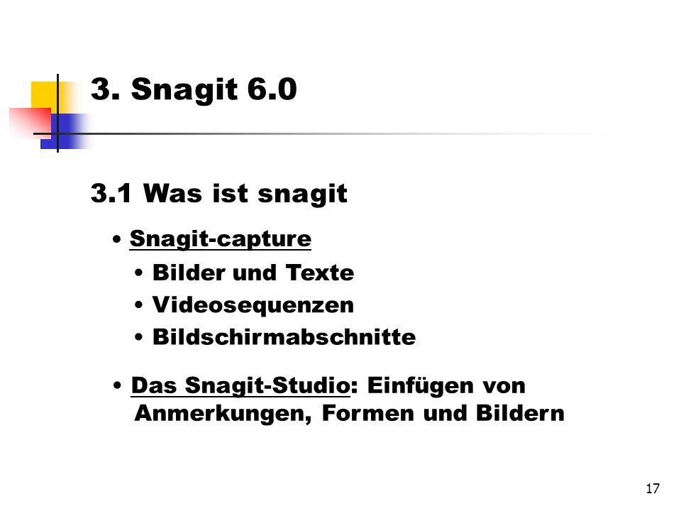 17 3.1 Was ist snagit Snagit-capture Bilder und Texte Videosequenzen Bildschirmabschnitte Das Snagit-Studio: Einfügen von Anmerkungen, Formen und Bildern 3.