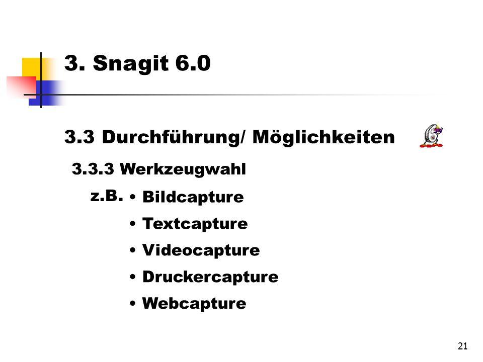 21 3.3 Durchführung/ Möglichkeiten 3.3.3 Werkzeugwahl Bildcapture Textcapture Videocapture Druckercapture Webcapture 3.