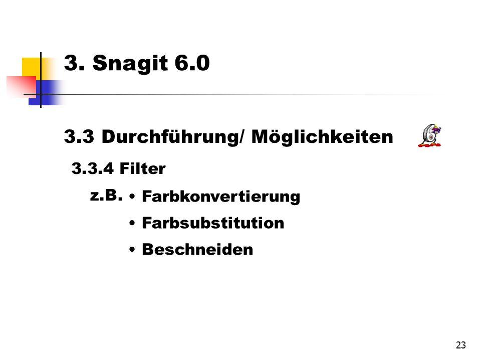23 3.3 Durchführung/ Möglichkeiten 3.3.4 Filter Farbkonvertierung Farbsubstitution Beschneiden 3.
