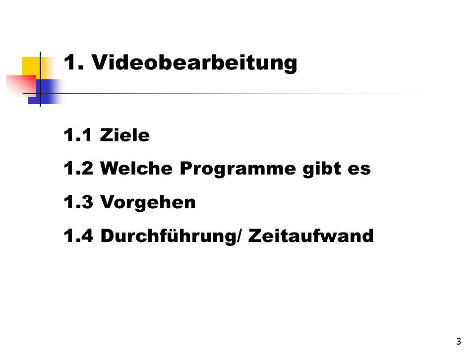 3 1. Videobearbeitung 1.1 Ziele 1.2 Welche Programme gibt es 1.3 Vorgehen 1.4 Durchführung/ Zeitaufwand