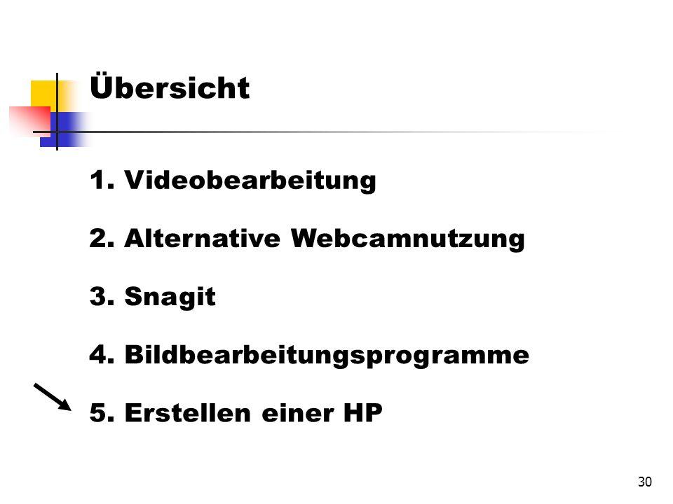 30 Übersicht 1. Videobearbeitung 2. Alternative Webcamnutzung 3.