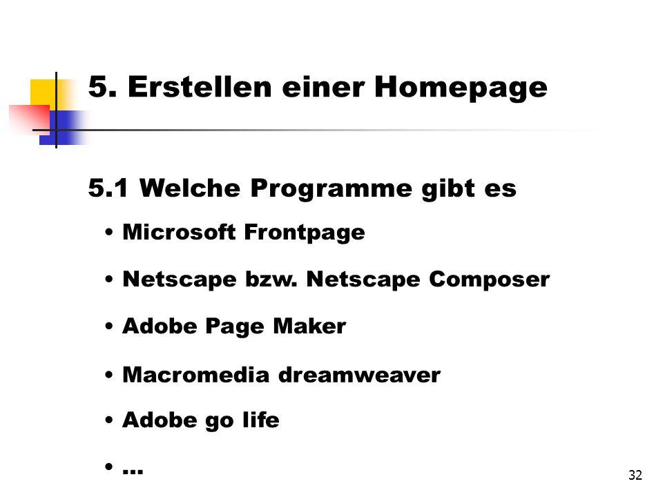 32 5.1 Welche Programme gibt es Microsoft Frontpage Netscape bzw.