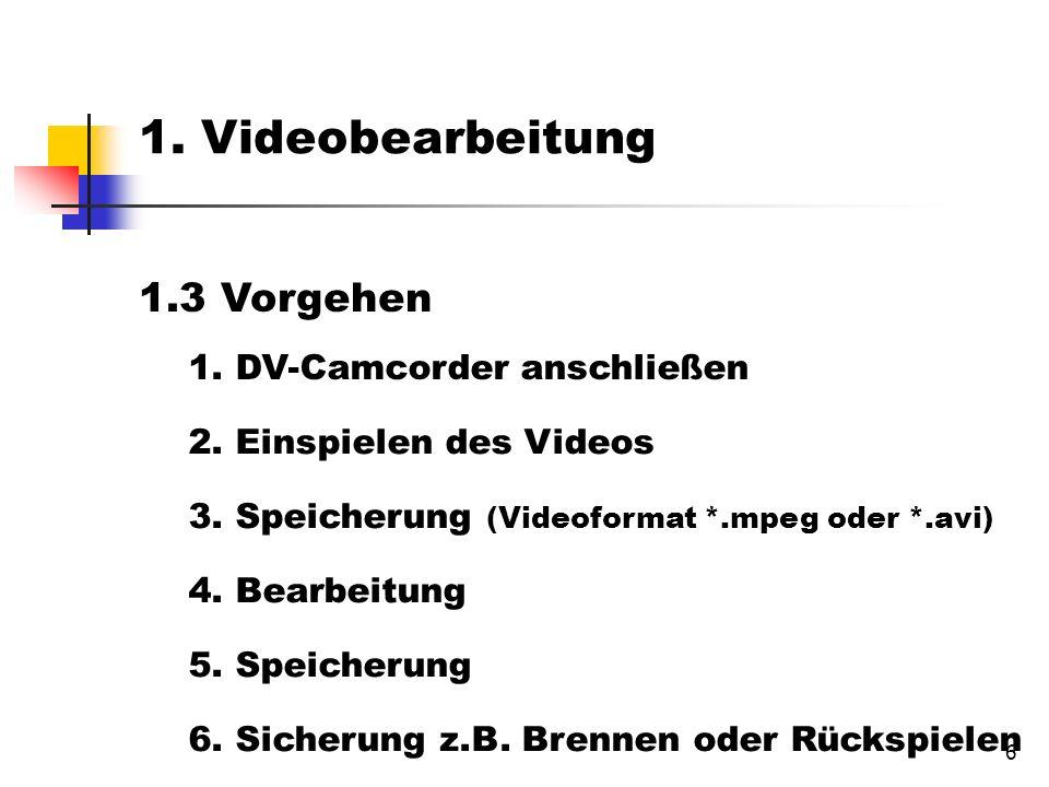 6 1.3 Vorgehen 1. DV-Camcorder anschließen 2. Einspielen des Videos 3.