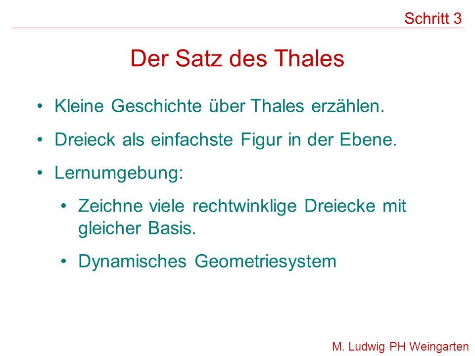 Der Satz des Thales Kleine Geschichte über Thales erzählen. Dreieck als einfachste Figur in der Ebene. Lernumgebung: Zeichne viele rechtwinklige Dreie