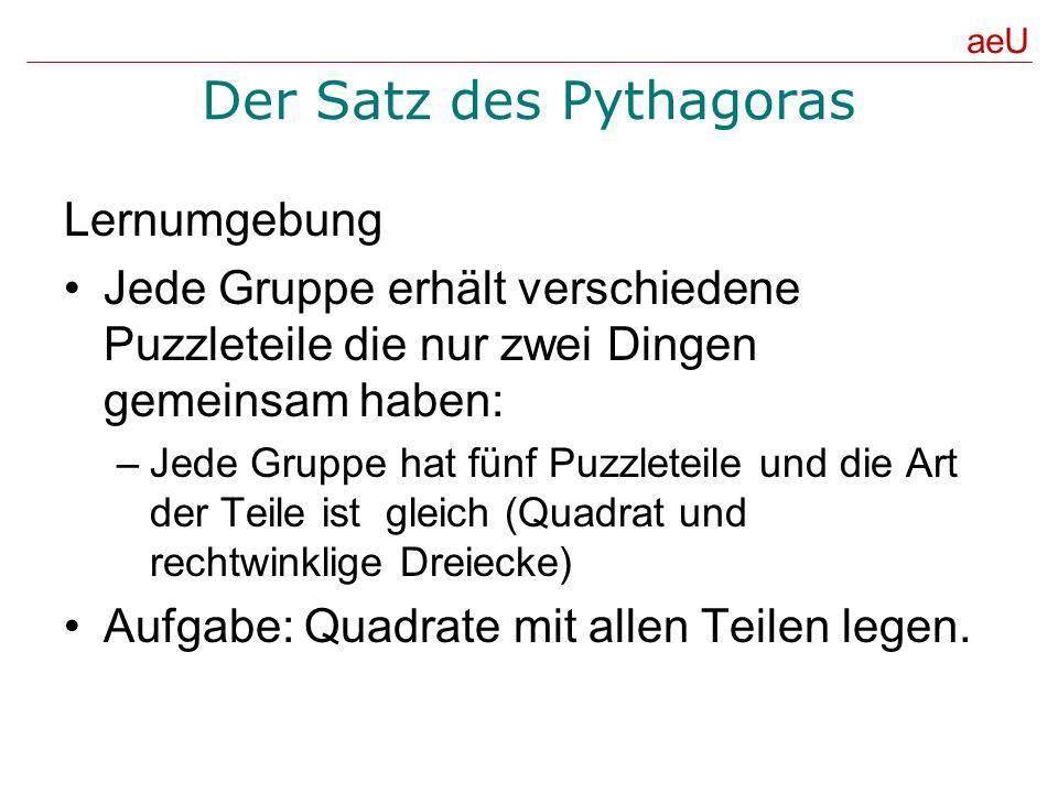 Der Satz des Pythagoras Lernumgebung Jede Gruppe erhält verschiedene Puzzleteile die nur zwei Dingen gemeinsam haben: –Jede Gruppe hat fünf Puzzleteil