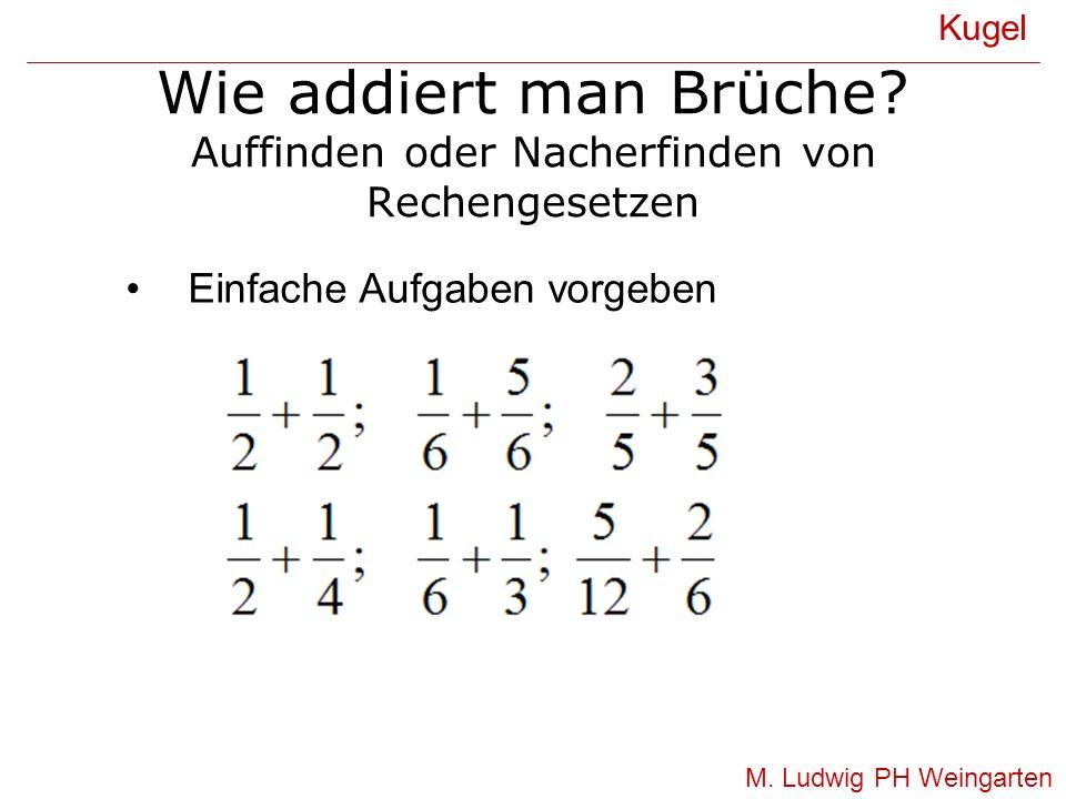 Wie addiert man Brüche? Auffinden oder Nacherfinden von Rechengesetzen Kugel M. Ludwig PH Weingarten Einfache Aufgaben vorgeben