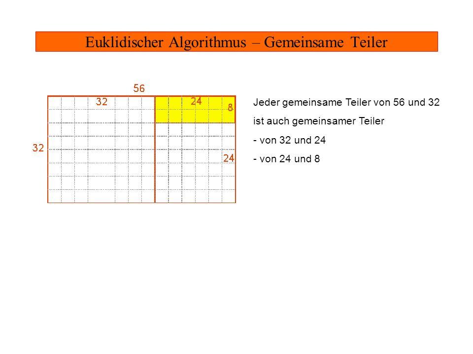 Euklidischer Algorithmus – Gemeinsame Teiler Jeder gemeinsame Teiler von 56 und 32 ist auch gemeinsamer Teiler - von 32 und 24 - von 24 und 8