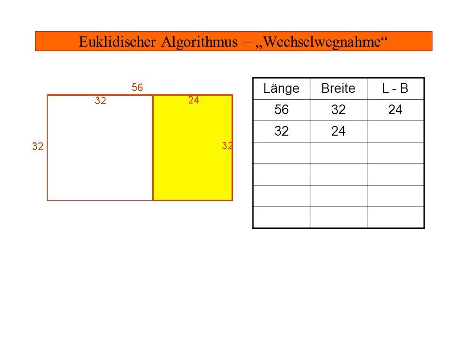 Euklidischer Algorithmus – Wechselwegnahme LängeBreiteL - B 563224 32248 8