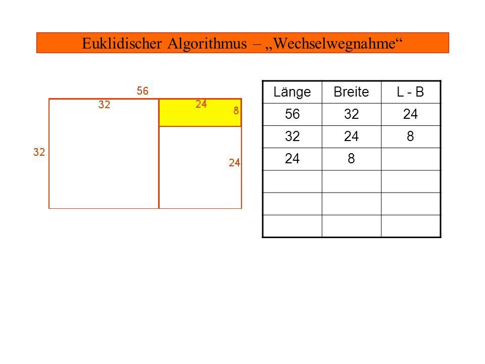 Euklidischer Algorithmus – Wechselwegnahme LängeBreiteL - B 563224 32248 816 8