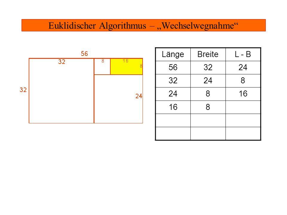 Euklidischer Algorithmus – Wechselwegnahme LängeBreiteL - B 563224 32248 816 88 88