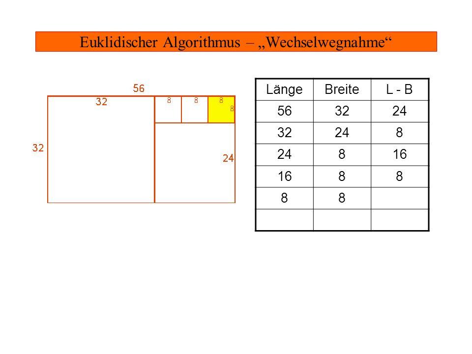 Euklidischer Algorithmus – Parkettieren Das 8-Quadrat - passt in das 16x8-Rechteck - passt in das 24x8-Rechteck - passt in das 32x24-Rechteck