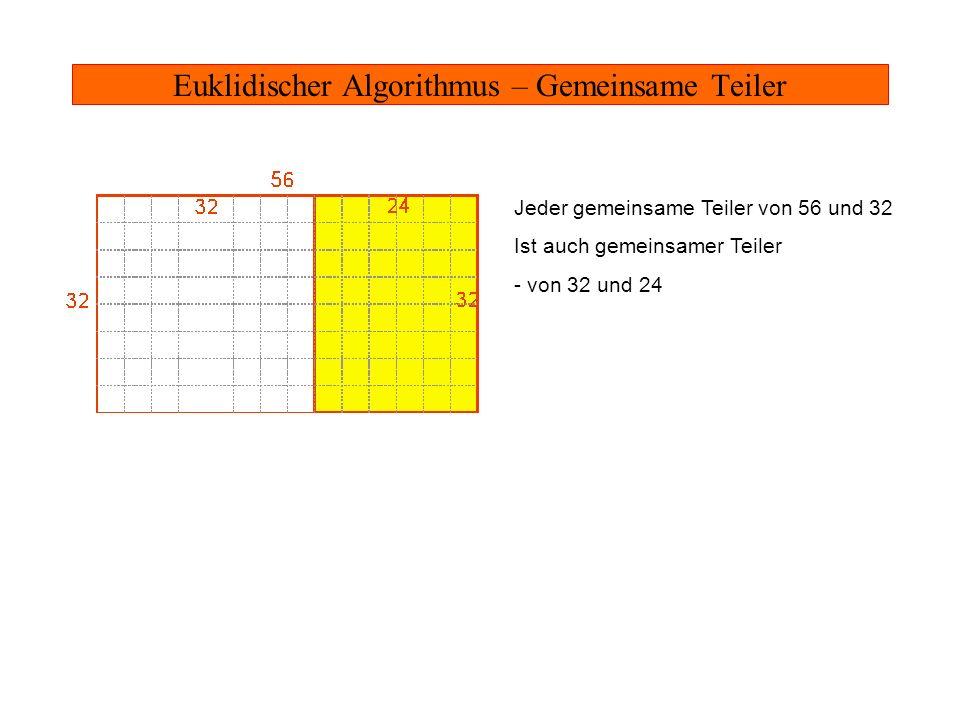 Euklidischer Algorithmus – Gemeinsame Teiler Jeder gemeinsame Teiler von 56 und 32 Ist auch gemeinsamer Teiler - von 32 und 24