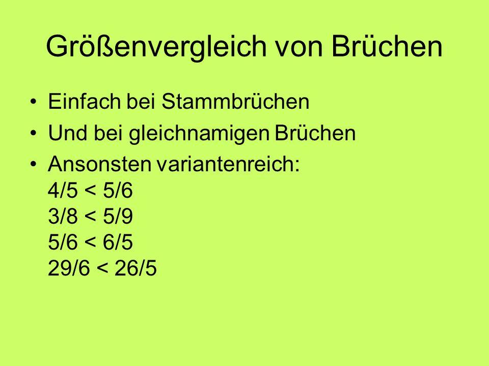 Größenvergleich von Brüchen Einfach bei Stammbrüchen Und bei gleichnamigen Brüchen Ansonsten variantenreich: 4/5 < 5/6 3/8 < 5/9 5/6 < 6/5 29/6 < 26/5