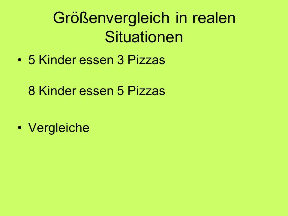 Größenvergleich in realen Situationen 5 Kinder essen 3 Pizzas 8 Kinder essen 5 Pizzas Vergleiche