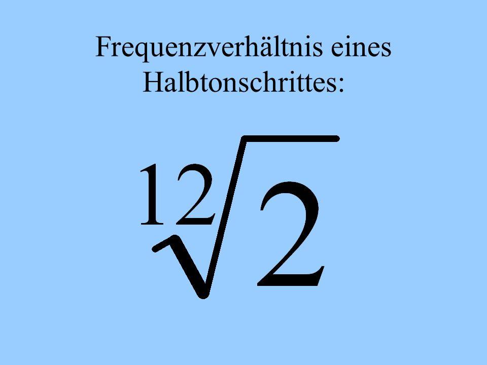Frequenzverhältnis eines Halbtonschrittes: