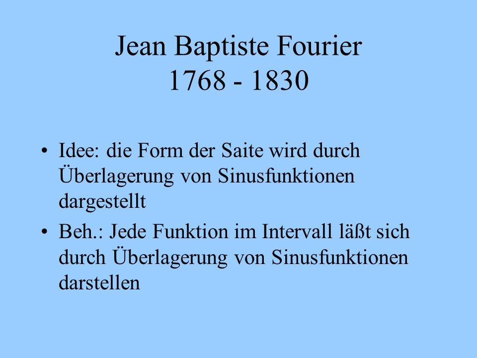 Jean Baptiste Fourier 1768 - 1830 Idee: die Form der Saite wird durch Überlagerung von Sinusfunktionen dargestellt Beh.: Jede Funktion im Intervall lä