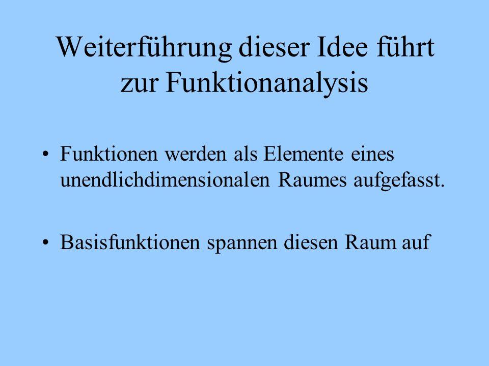 Weiterführung dieser Idee führt zur Funktionanalysis Funktionen werden als Elemente eines unendlichdimensionalen Raumes aufgefasst. Basisfunktionen sp
