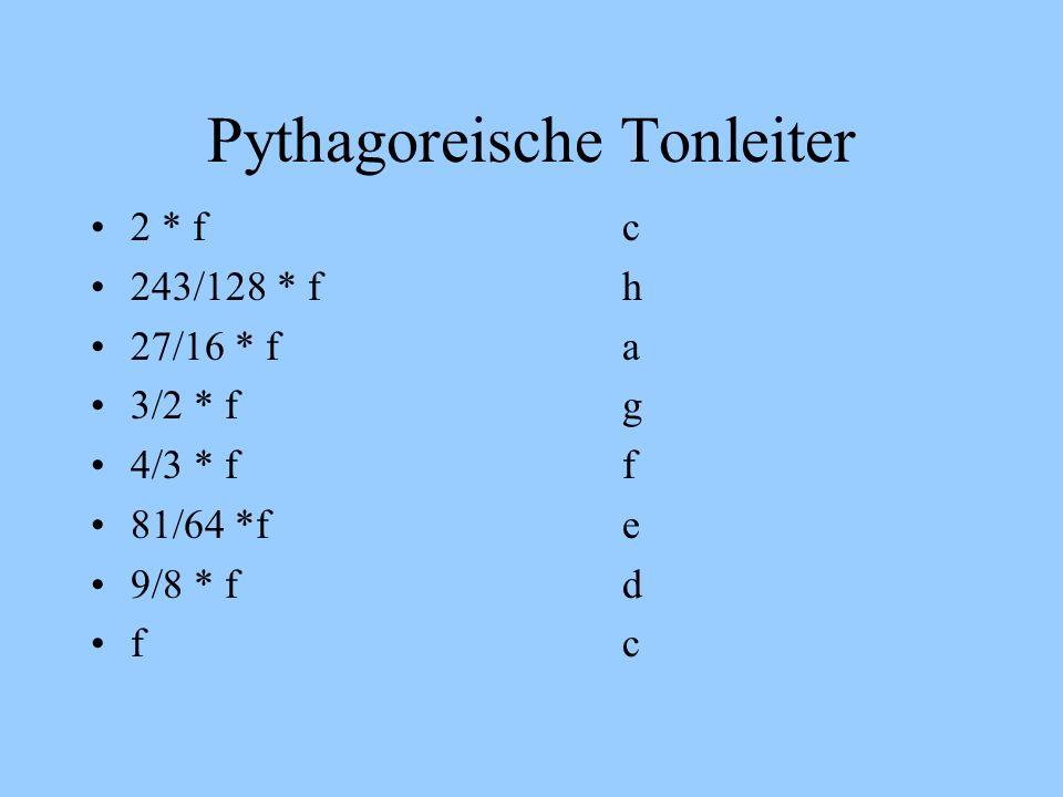 Pythagoreische Tonleiter 2 * fc 243/128 * fh 27/16 * fa 3/2 * fg 4/3 * ff 81/64 *fe 9/8 * f d fc