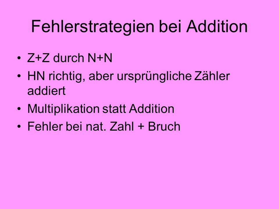 Fehlerstrategien bei Addition Z+Z durch N+N HN richtig, aber ursprüngliche Zähler addiert Multiplikation statt Addition Fehler bei nat. Zahl + Bruch