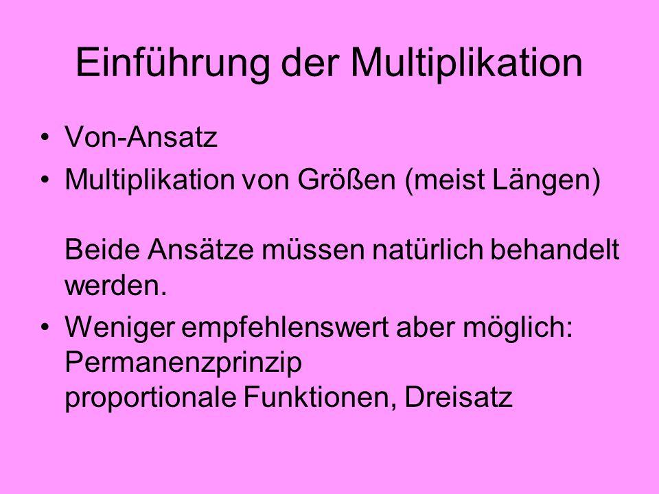 Einführung der Multiplikation Von-Ansatz Multiplikation von Größen (meist Längen) Beide Ansätze müssen natürlich behandelt werden. Weniger empfehlensw
