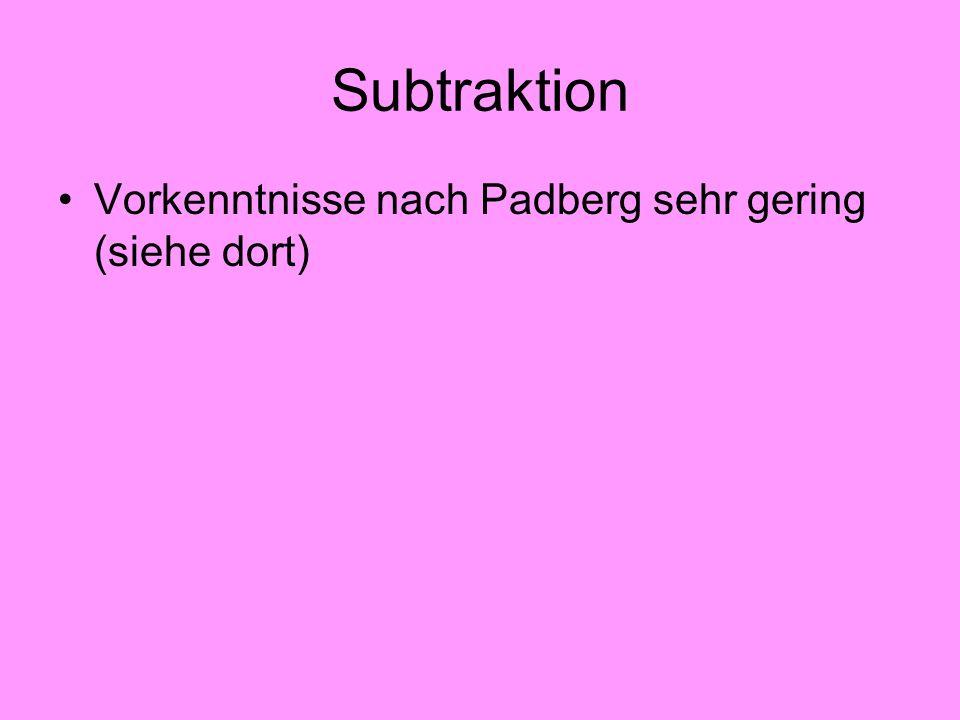 Subtraktion Vorkenntnisse nach Padberg sehr gering (siehe dort)