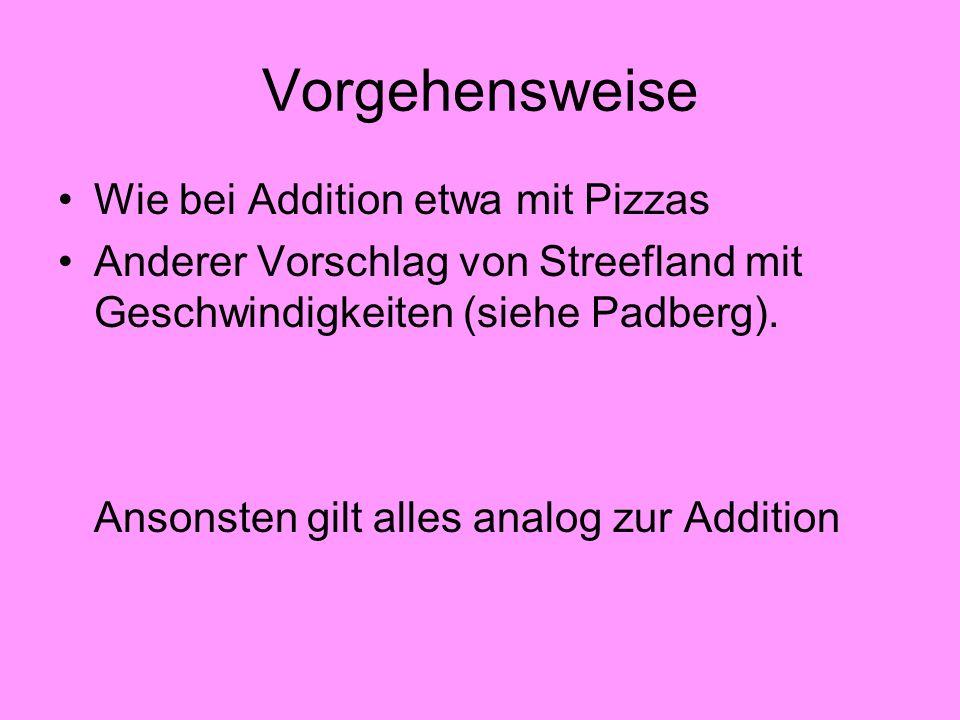 Vorgehensweise Wie bei Addition etwa mit Pizzas Anderer Vorschlag von Streefland mit Geschwindigkeiten (siehe Padberg). Ansonsten gilt alles analog zu