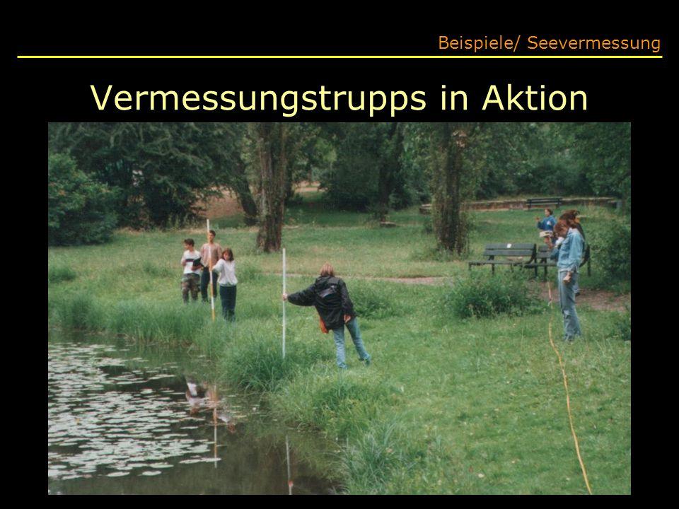 Vermessungstrupps in Aktion Beispiele/ Seevermessung