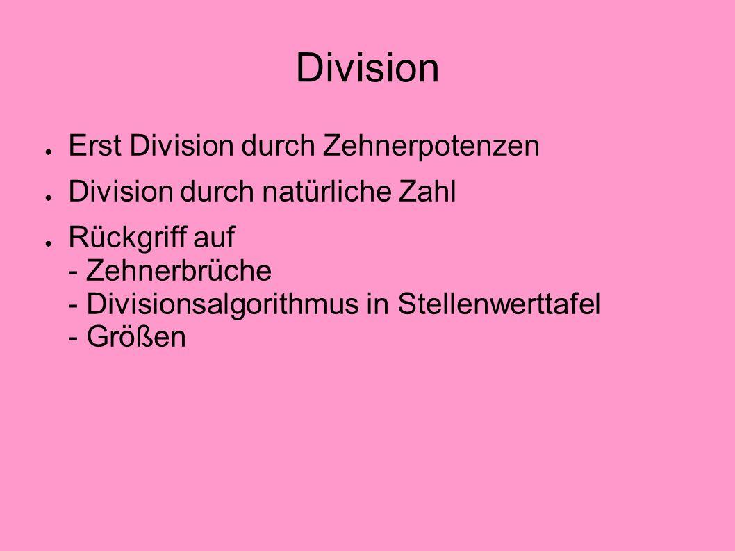 Division Erst Division durch Zehnerpotenzen Division durch natürliche Zahl Rückgriff auf - Zehnerbrüche - Divisionsalgorithmus in Stellenwerttafel - G