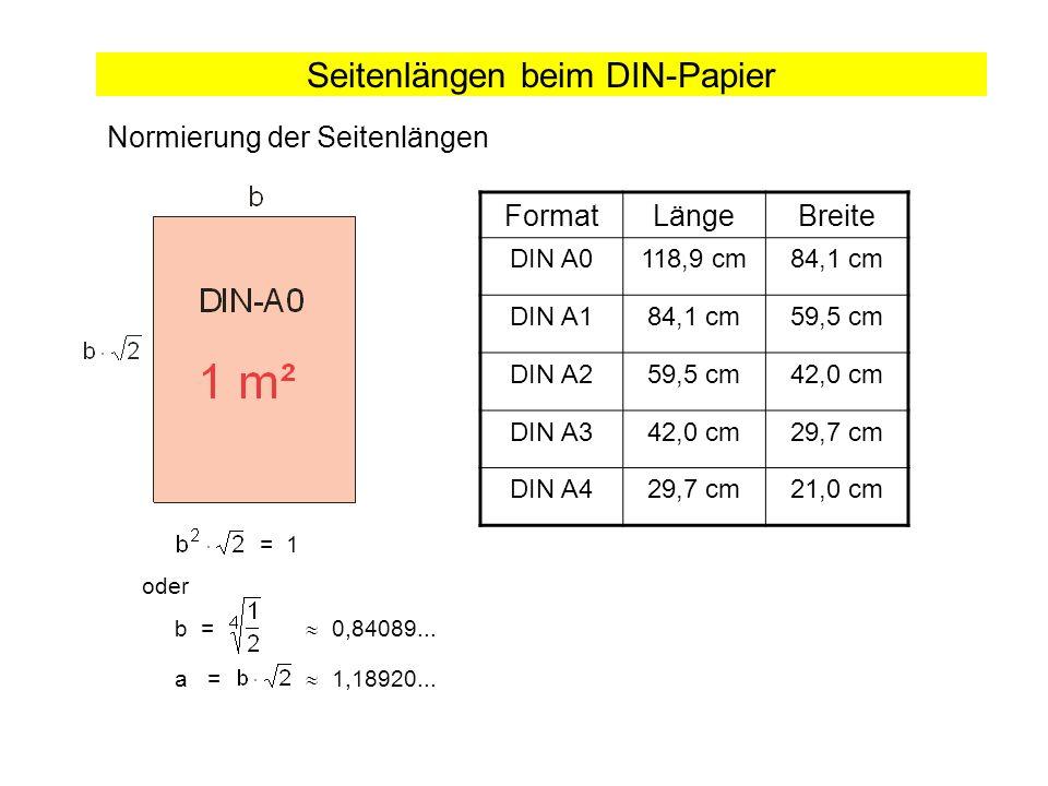 Seitenlängen beim DIN-Papier Normierung der Seitenlängen = 1 oder b = 0,84089... a = 1,18920... FormatLängeBreite DIN A0118,9 cm84,1 cm DIN A184,1 cm5