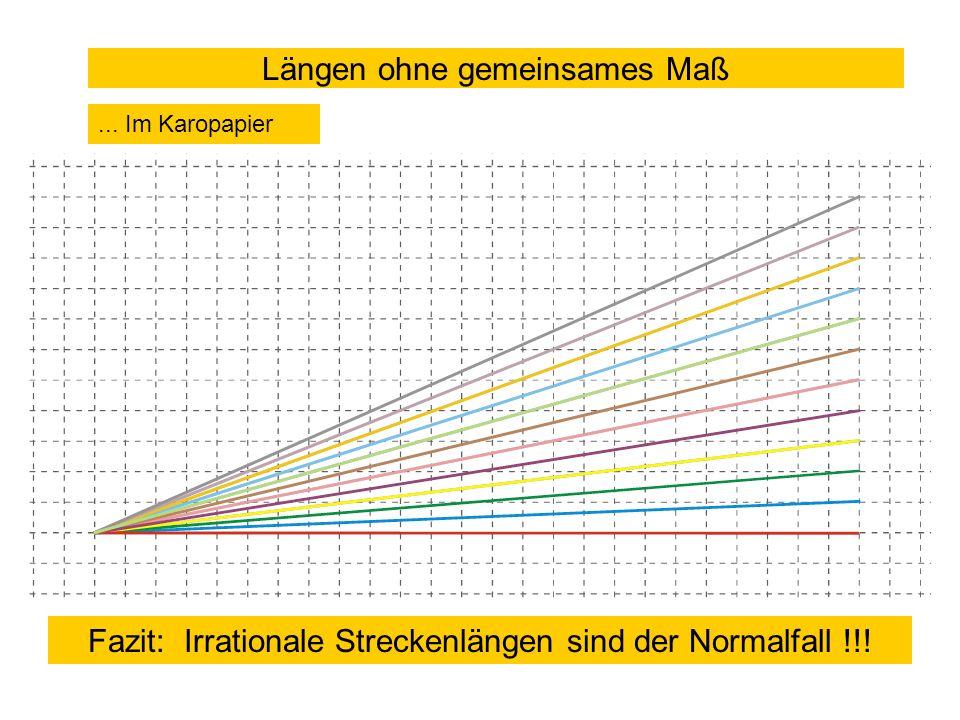 Längen ohne gemeinsames Maß... Im Karopapier Fazit: Irrationale Streckenlängen sind der Normalfall !!!