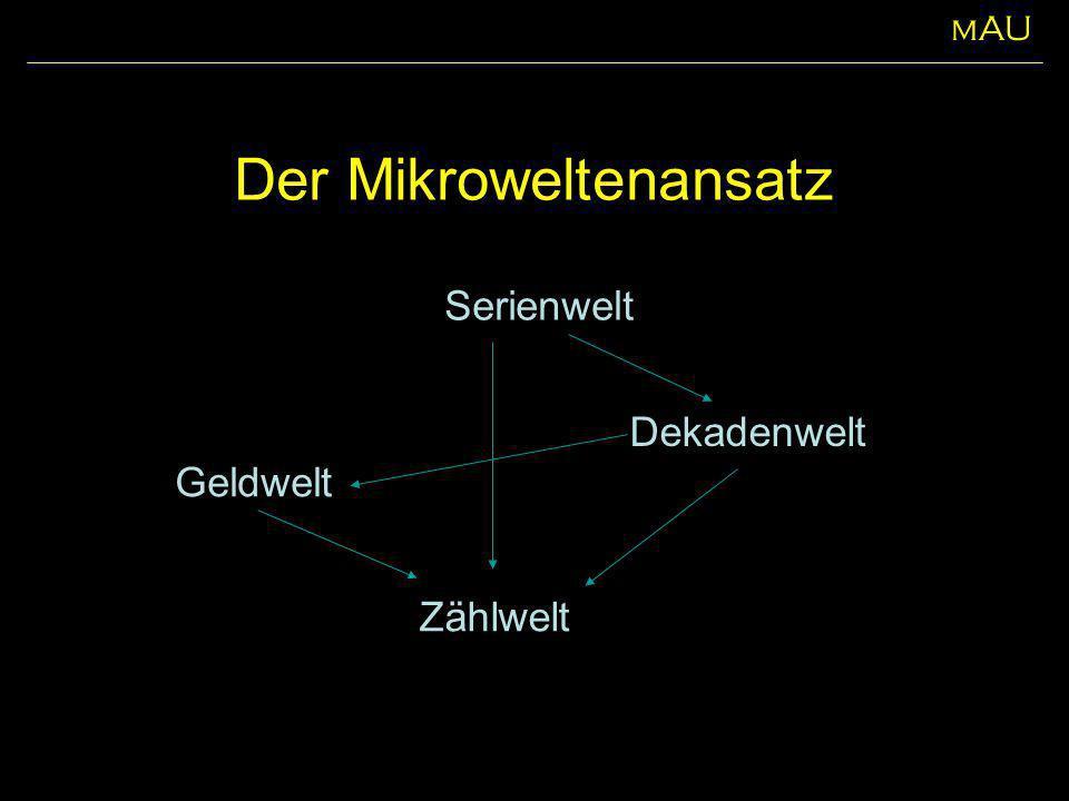Der Mikroweltenansatz Zählwelt Dekadenwelt Serienwelt Geldwelt mAU