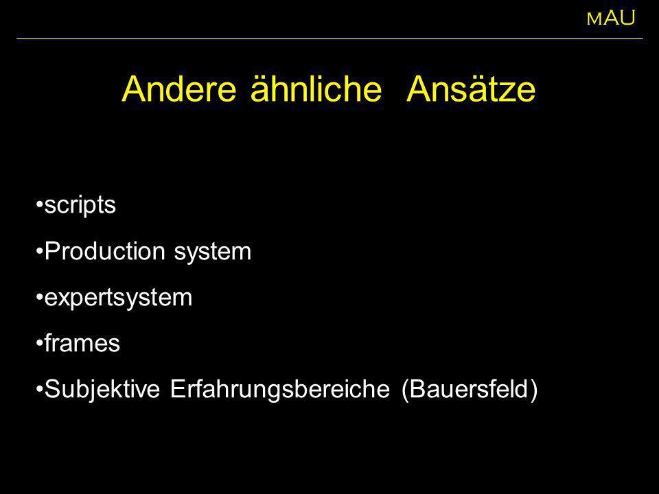 Andere ähnliche Ansätze scripts Production system expertsystem frames Subjektive Erfahrungsbereiche (Bauersfeld) mAU