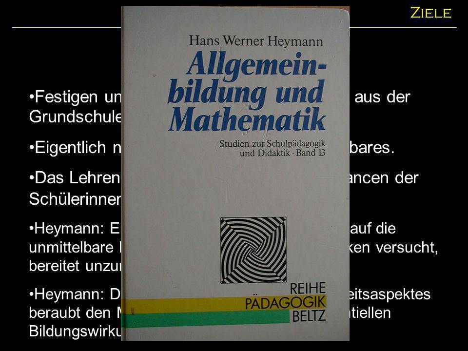 Inhaltliche Ziele Die Leitideen (BPBW) Ziele Zahl.