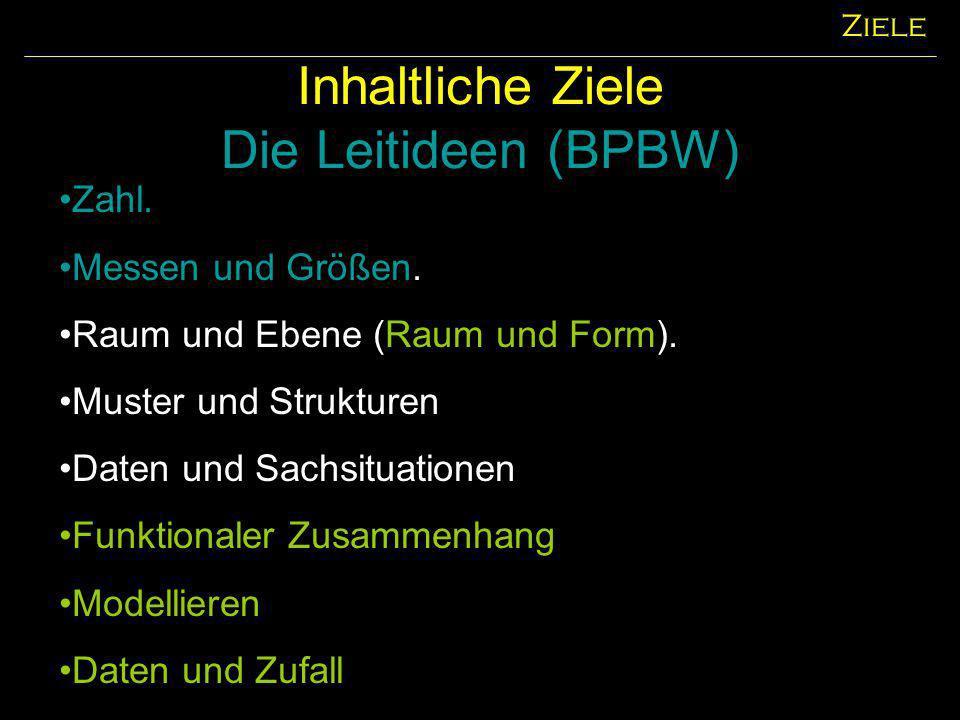 Inhaltliche Ziele Die Leitideen (BPBW) Ziele Zahl. Messen und Größen. Raum und Ebene (Raum und Form). Muster und Strukturen Daten und Sachsituationen