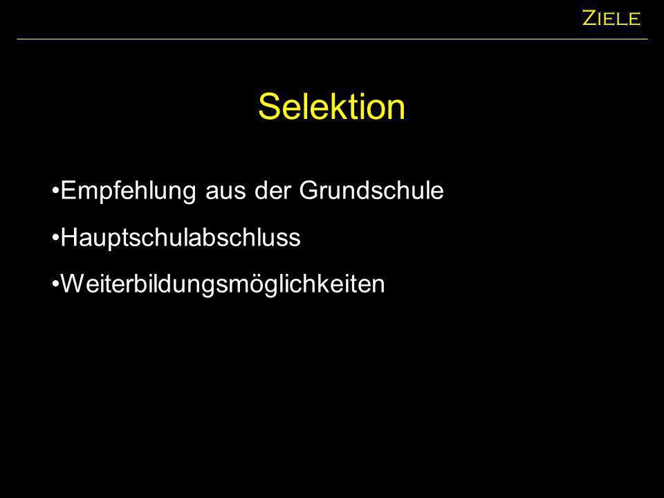 Selektion Ziele Empfehlung aus der Grundschule Hauptschulabschluss Weiterbildungsmöglichkeiten