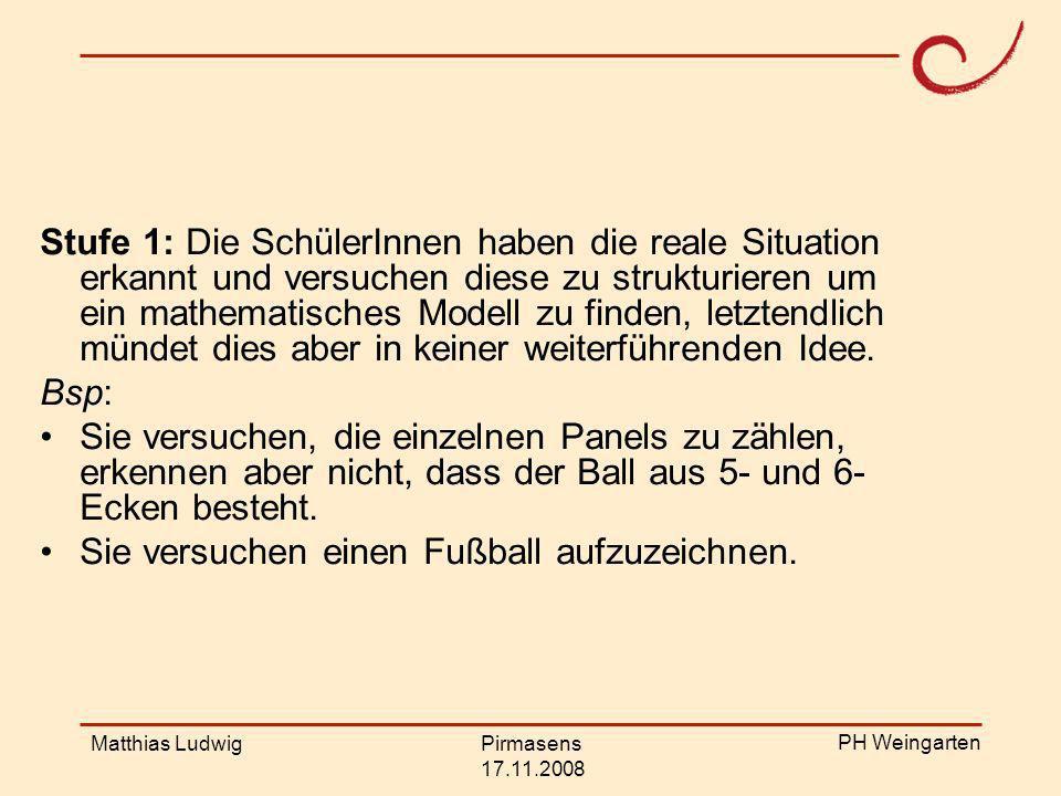 PH Weingarten Matthias LudwigPirmasens 17.11.2008 Stufe 2: Die SchülerInnen äußern eine sinnvolle Vermutung und sind in der Lage ein mathematisches Modell vorzuschlagen, aber dieses Modell wurde nicht konsequent mathematisiert.