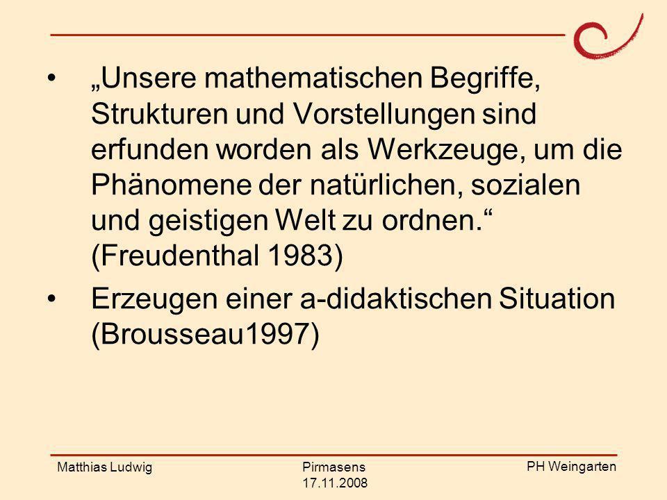 PH Weingarten Matthias LudwigPirmasens 17.11.2008 Mathematische Begriffe sind Werkzeuge zur Erschließung der Welt.
