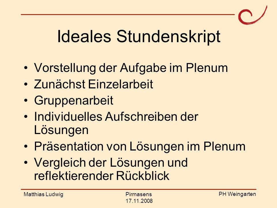 PH Weingarten Matthias LudwigPirmasens 17.11.2008 Weitere Beispiele Das Schullotto –Entwerft ein geeignetes Lotto für ein Schulfest.