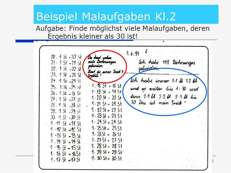 10 Beispiel Malaufgaben Kl.2 Aufgabe: Finde möglichst viele Malaufgaben, deren Ergebnis kleiner als 30 ist!