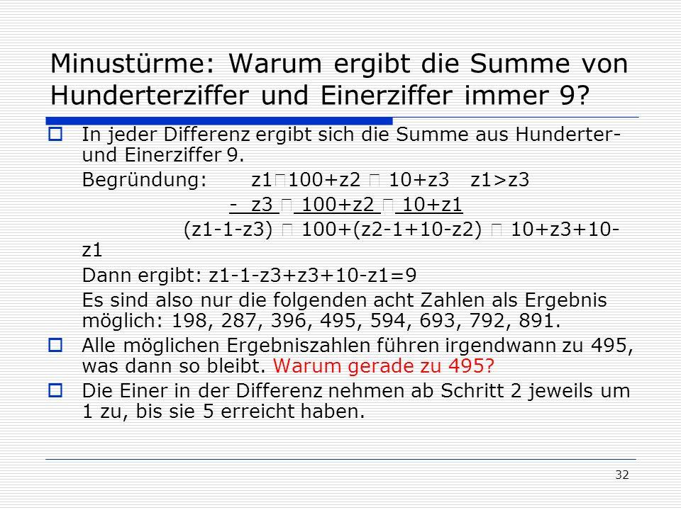 32 Minustürme: Warum ergibt die Summe von Hunderterziffer und Einerziffer immer 9? In jeder Differenz ergibt sich die Summe aus Hunderter- und Einerzi