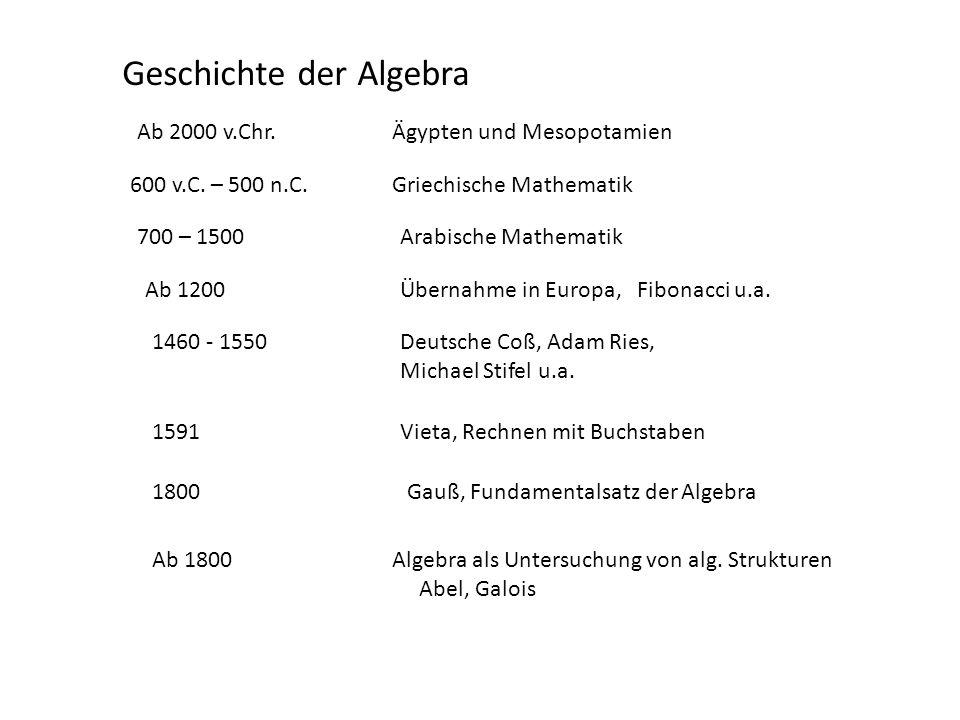 Geschichte der Algebra Ab 2000 v.Chr. 600 v.C. – 500 n.C. Ägypten und Mesopotamien Griechische Mathematik 700 – 1500Arabische Mathematik Ab 1200Überna