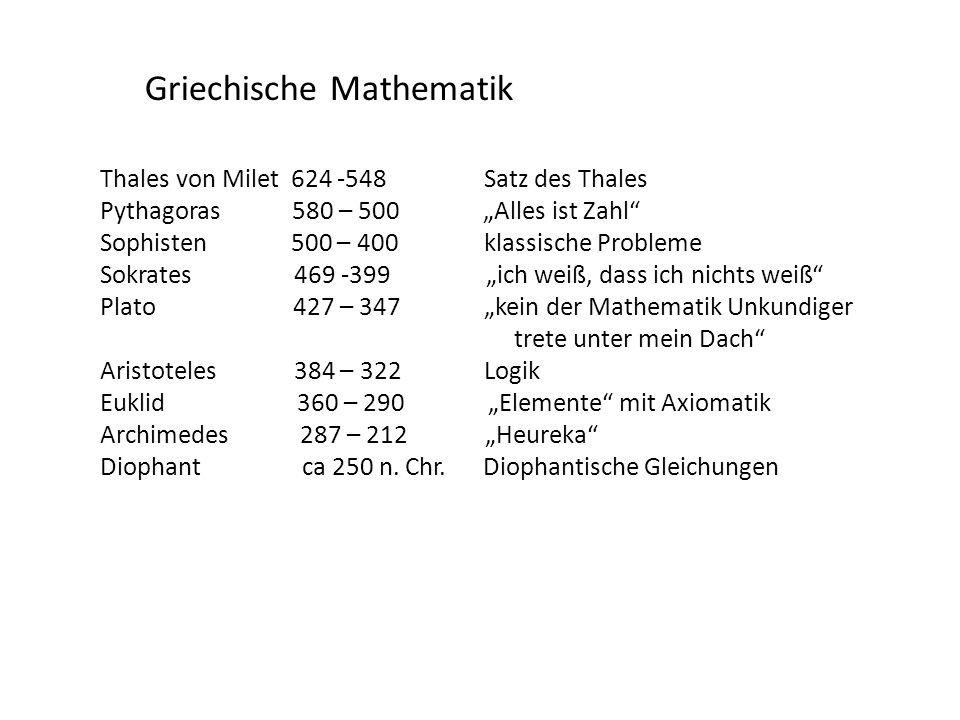 Griechische Mathematik Thales von Milet 624 -548Satz des Thales Pythagoras 580 – 500 Alles ist Zahl Sophisten 500 – 400klassische Probleme Sokrates 46