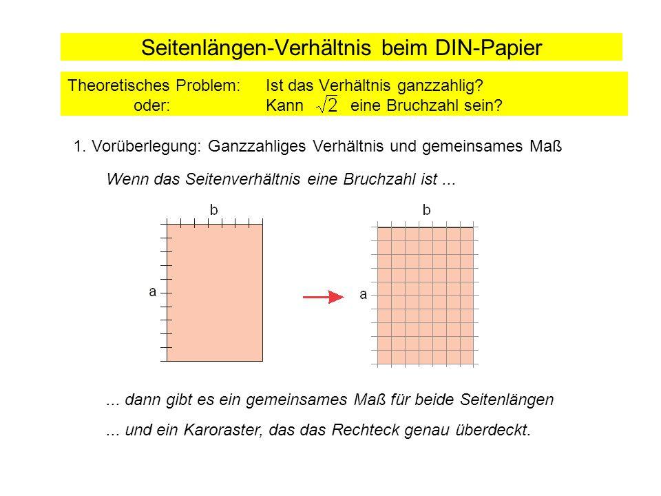 Seitenlängen-Verhältnis beim DIN-Papier Theoretisches Problem: Ist das Verhältnis ganzzahlig? oder:Kann eine Bruchzahl sein? 1. Vorüberlegung: Ganzzah