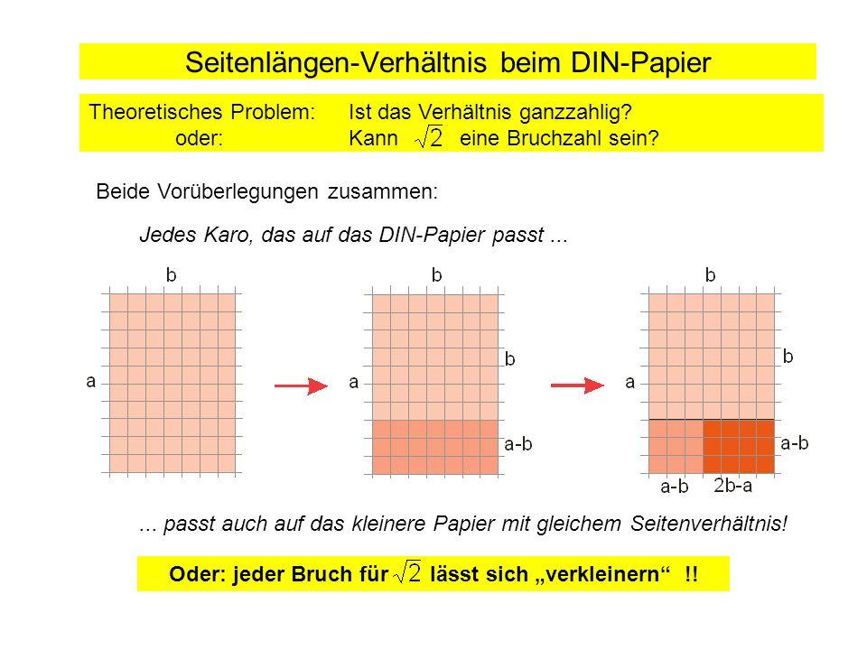 Seitenlängen-Verhältnis beim DIN-Papier Beide Vorüberlegungen zusammen: Theoretisches Problem: Ist das Verhältnis ganzzahlig? oder:Kann eine Bruchzahl