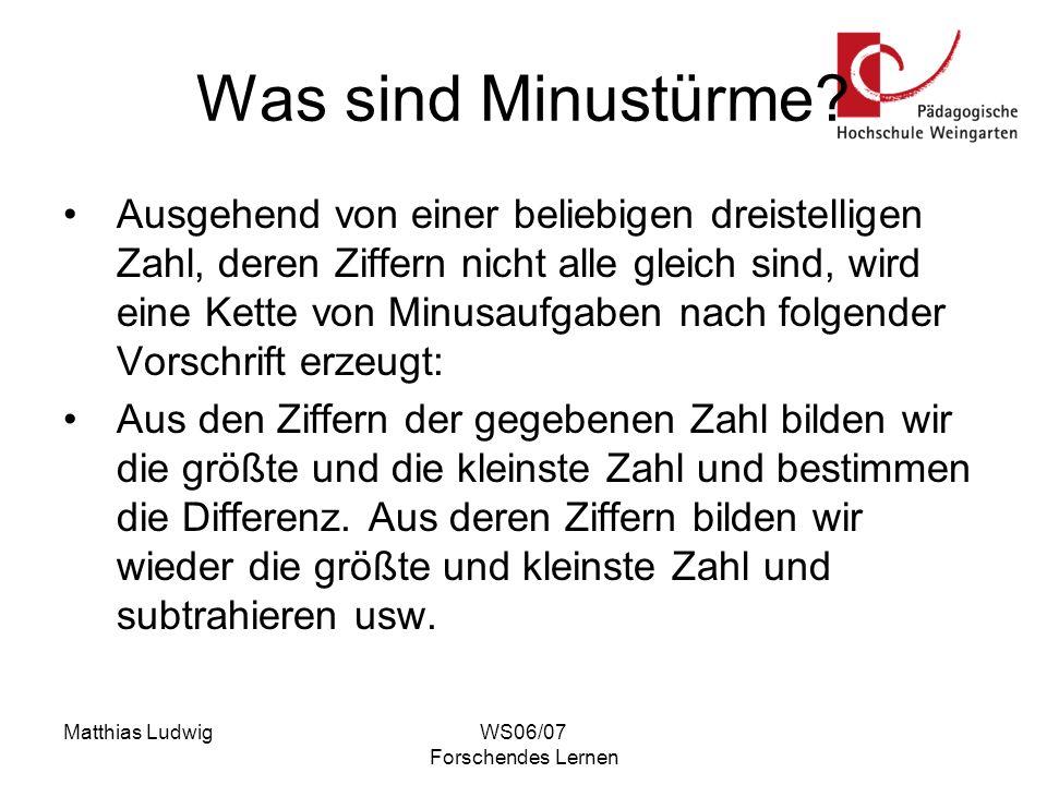 Matthias LudwigWS06/07 Forschendes Lernen Was sind Minustürme? Ausgehend von einer beliebigen dreistelligen Zahl, deren Ziffern nicht alle gleich sind